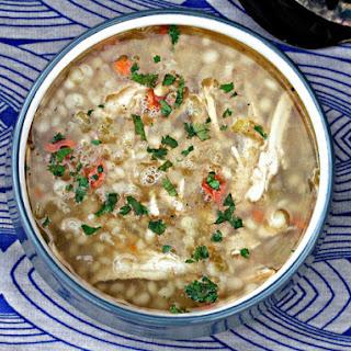Slow Cooker Leftover Turkey, Lemon, and Cous Cous Soup.