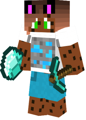a new version of my Cookie Cat Girl Skin with a Diamond ore on its T-Shirt.