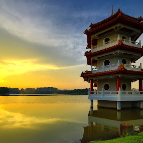 Chinese Garden Pagoda by Chester Chen - Travel Locations Landmarks ( reflection, pagoda, sunset, garden, jurong lake, chinese, jamcansing )