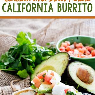 Lightened up Chicken and Sweet Potato California Burrito.