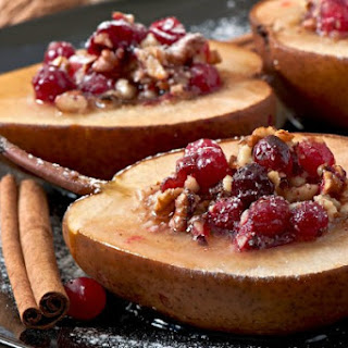 Baked Cardamom Pears with Cranberries and Raisins