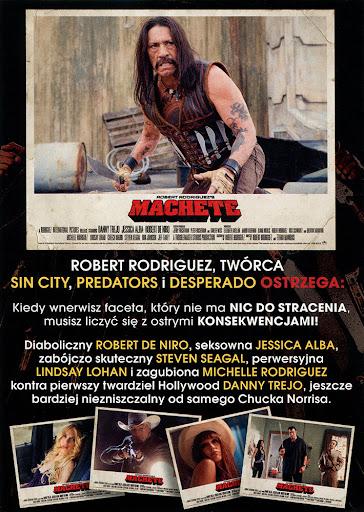 Tył ulotki filmu 'Maczeta'
