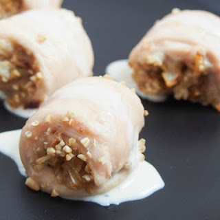 Chicken With Oatmeal Stuffing And Whisky Sauce.