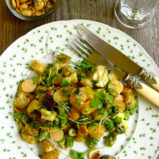 Baby New Potato & Asparagus Salad with Marcona Almonds & Micro Greens