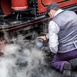 by Stephen  Barker - People Street & Candids ( oil, rail road, steam train, vintage steam engine, steam )