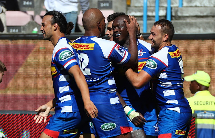 Raymond Rhule of the Stormers celebrates scoring a try with teammates during the 2018 Super Rugby match between the Stormers and the Jaguares at Newlands Stadium, Cape Town on 17 February 2018.