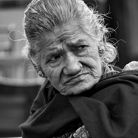 The Wait by Naveen Rai - People Street & Candids ( old, street, white, candid, senior citizen, women, black, portrait, aged, , woman, b&w, person )
