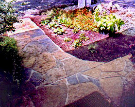 Photo: An old, heaving, cracked concrete walkway was faced here with natural limestone flag. This is a wet-laid installation (stones were mortared down) as opposed to dry-lay, which doesn't use mortar.