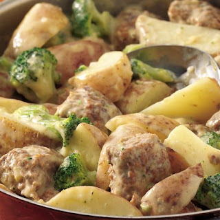 Creamy Meatballs and Potatoes.