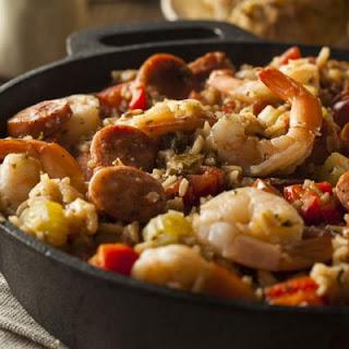 Classic Shrimp and Sausage Jambalaya.
