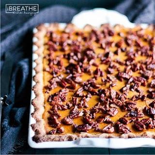 Low Carb Pumpkin Slab Pie w/ Cardamom Candied Pecans