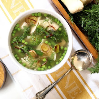 Spring Chicken Vegetable Soup with Caramelized Leeks