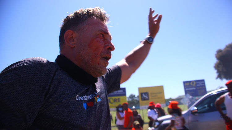 WATCH | Chaos at EFF's Brackenfell protest as white man in lycra intervenes