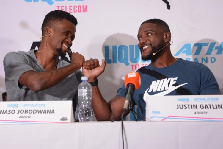 South African athlete Anaso Jobodwana and American sprinter Justin Gatlin during a media conference at the Premium Hotel on March 07, 2018 in Pretoria, South Africa. Gatlin, the reigning world 100m champion, will participate in the second leg of the inaugural Liquid Telecom Athletix Grand Prix in Pretoria on Thursday March 08, 2018.