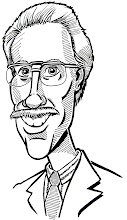 """Photo: Caricature of Mr. Anderson, of Anderson Travel. A study I did of him, from a newspaper photo that was only 1"""" high. I wanted to portray him as his mascot, but he didn't go for that. In fact, even though I was paid for all the illustrations I did for him in redesigning his mascot, they decided to keep the old one..."""