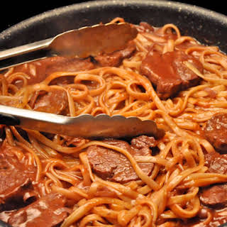 Linguine with Pork and Red Wine Sauce.