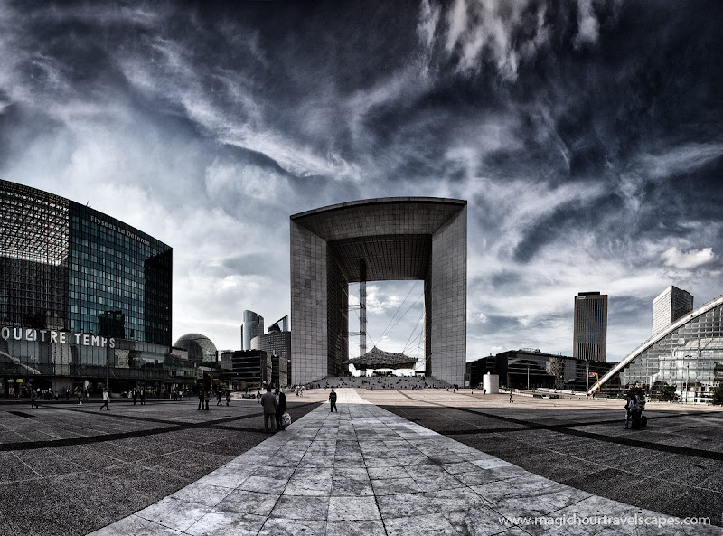 Photo: Stitched panorama of La Defense in Paris. I've used a Color Efex Pro 4 filter for this which I've reviewed on my blog today.http://www.magichourunplugged.com/2012/08/29/nik-color-efex-pro-4/