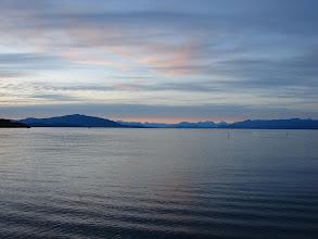 Photo: View from Ballenas Island across the Strait of Georgia.
