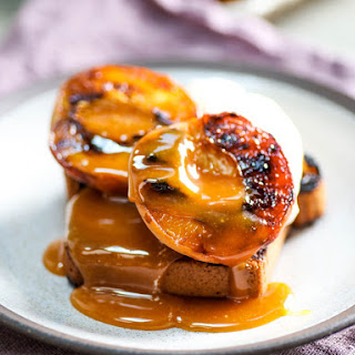 Grilled Peaches and Pound Cake With Cider Vinegar Caramel Sauce.