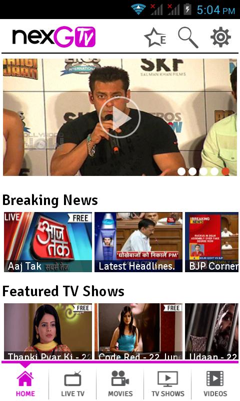 nexGTv - Live TV,Movies,Videos - screenshot