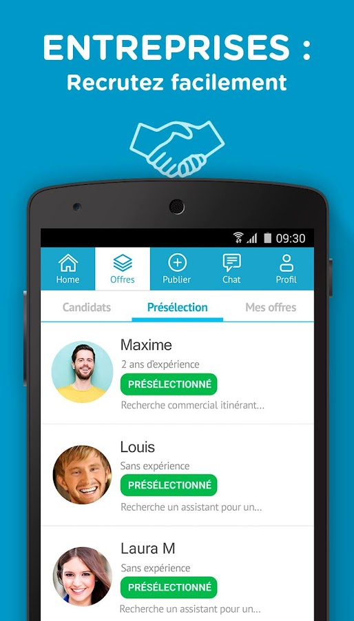cornerjob offres d 39 emploi applications android sur google play. Black Bedroom Furniture Sets. Home Design Ideas