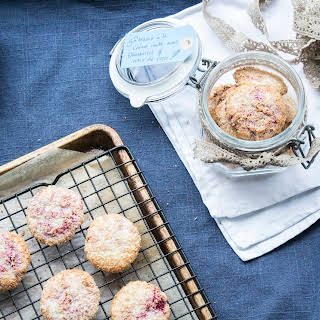 Clotted Cream Biscuits With Fresh Raspberries And Coconut.