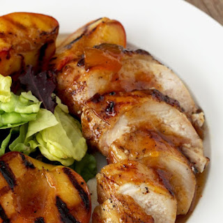 Sticky Chicken with Peach Glaze and Grilled Peaches