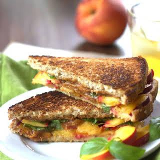Grilled Peach Sandwich with Basil & Thai Peanut Sauce.
