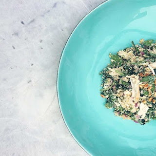 COCONUT POACHED CHICKEN WITH SPINACH, BASIL AND YOGHURT.
