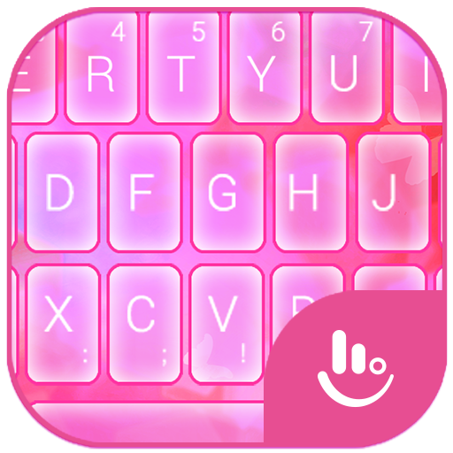 Pink Lovely Miss Butterfly Keyboard Theme