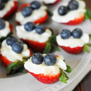 Red White & Blue Strawberry Cheesecake Bites.