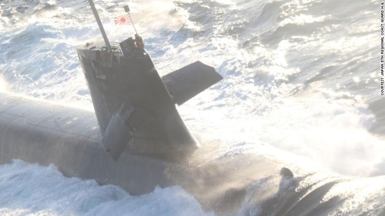 The Japan Maritime Self-Defense Force submarine Soryu is seen in the Pacific Ocean after colliding with a commercial ship on Monday. Damage can be seen to the planes on the sub's mast