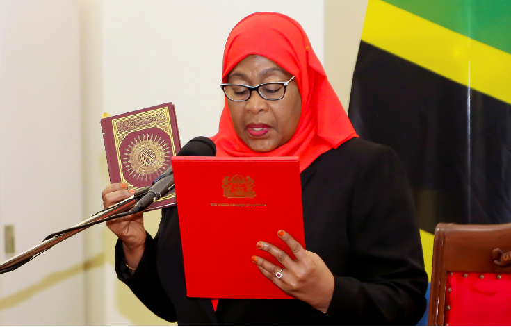 Tanzania's new President Samia Suluhu Hassan takes oath of office following the death of her predecessor John Pombe Magufuli at State House in Dar es Salaam, Tanzania on March 19 2021.