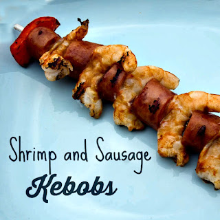 Shrimp and Sausage Kebob.