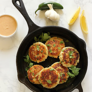 Spicy Jalapeño Tuna Cakes with Chipotle Aioli.