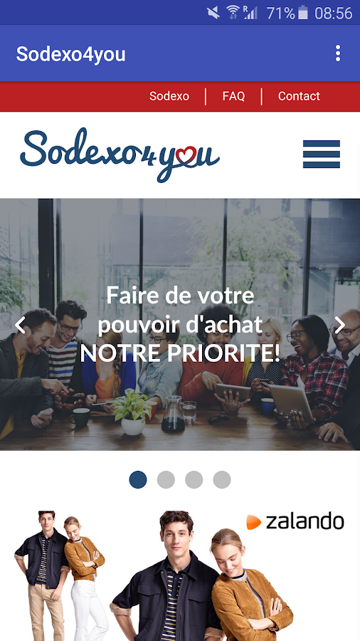 Sodexo4you – Capture d'écran