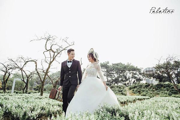 chụp ảnh cưới ở phim trường thảo nguyên hoa