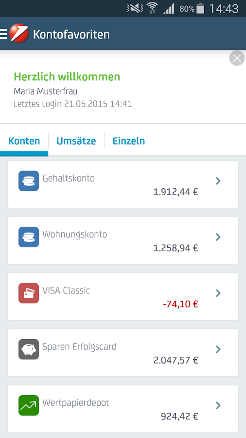 Bank Austria MobileBanking – Screenshot