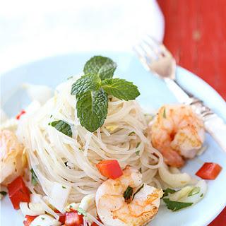 Rice Noodle Salad with Endive, Shrimp & Soy-Ginger Dressing