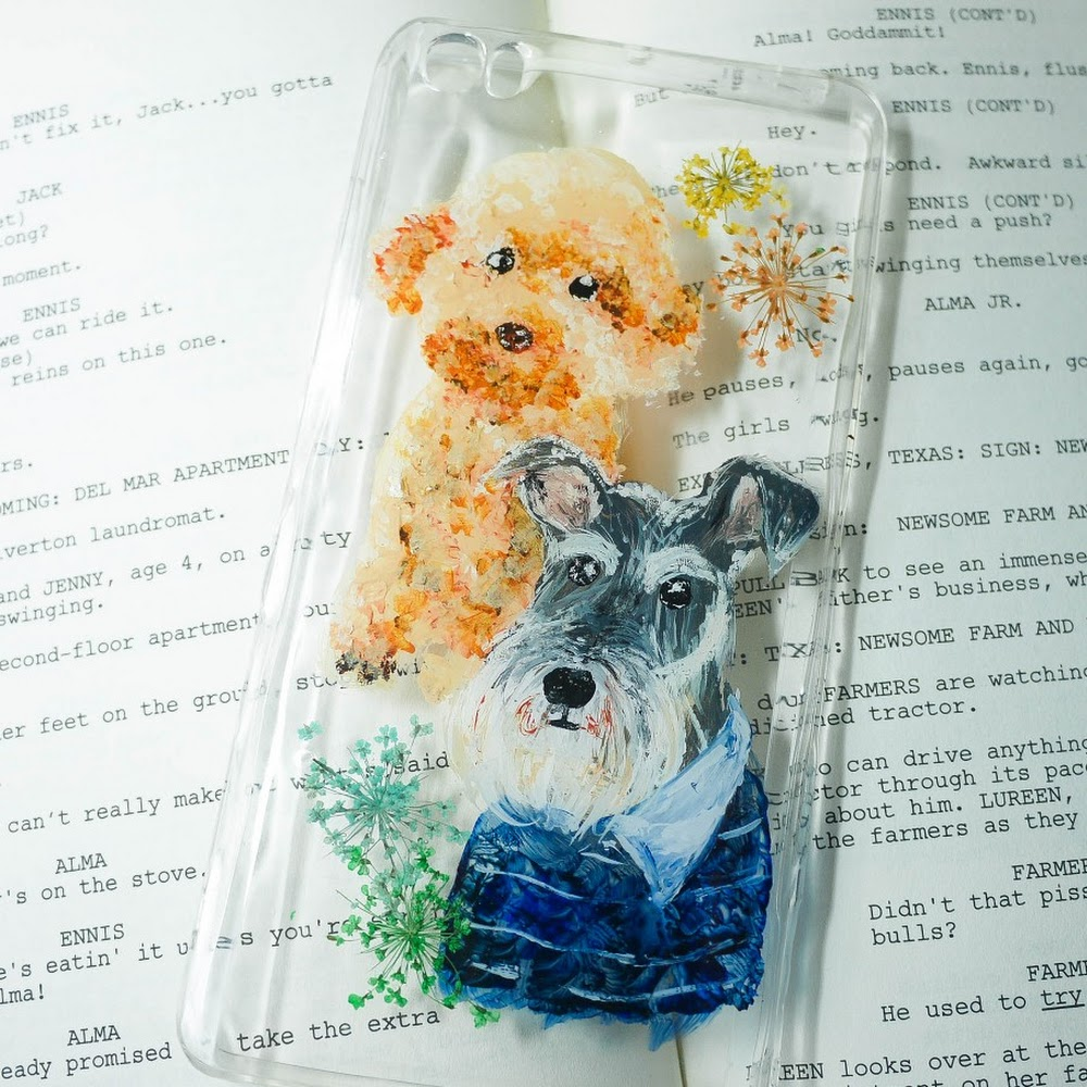 [訂製/custom-made] 手繪狗狗押花手機殼 Dog Painting Pressed Flowers Phone Case