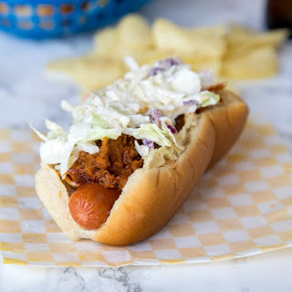 Barbecue Pulled Pork Hot Dog.