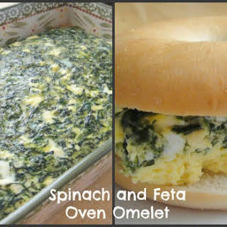 Spinach and Feta Oven Omelet Breakfast Bagel Sandwich.