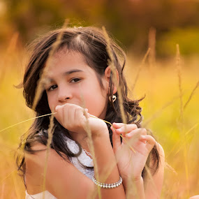 Jade. by Eliani Miranda - Babies & Children Child Portraits ( child, girl, warm, grass, dress, colors, white, cute, young )