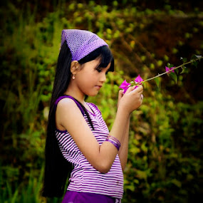 touch the bougenville by Abdul Firdausy - Babies & Children Child Portraits