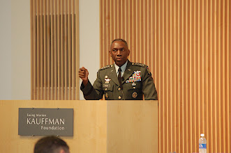Photo: Gen. William E. Ward speaks to the topic of expeditionary economics as it relates to his command on the continent of Africa.