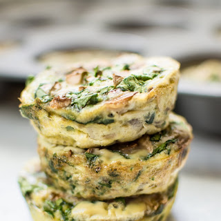 Spinach and Mushroom Healthy Breakfast Egg Muffins.