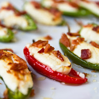 Goat Cheese Stuffed Peppers with Honey and Bacon.