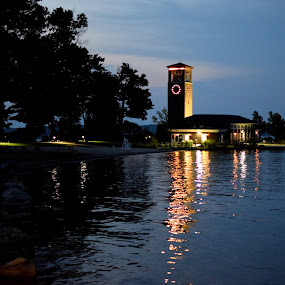 Miller Bell Tower at Night by Steve Hayes - Buildings & Architecture Public & Historical ( tower, carillion, clock, bell tower, night, chautauqua, chq )