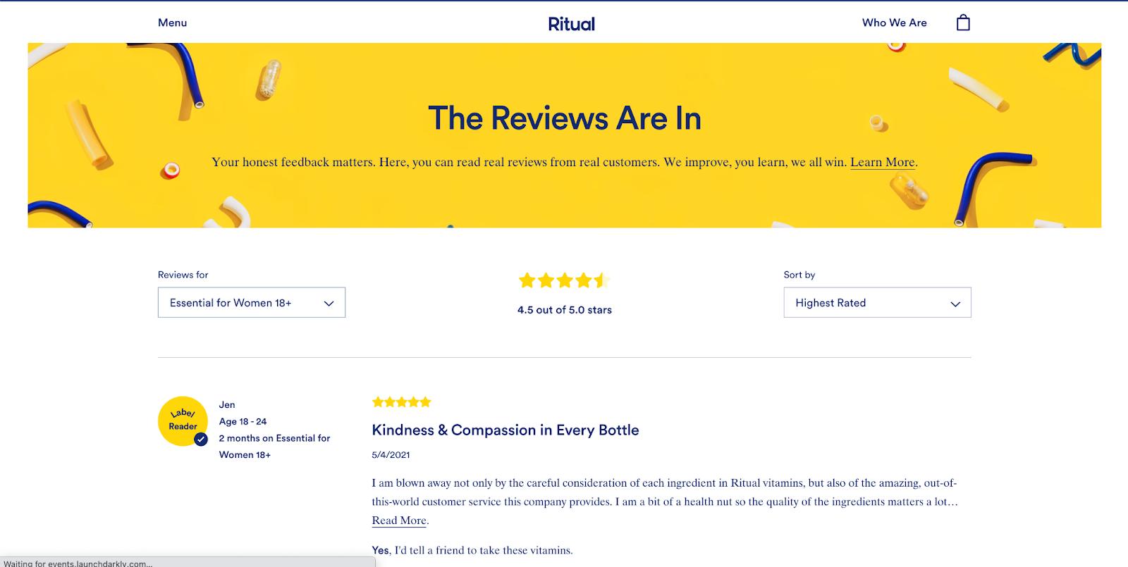 Example of Customer Testimonials Page