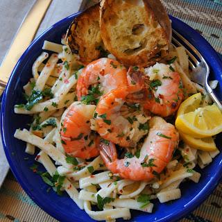 Shrimp Scampi and Egg Noodles.